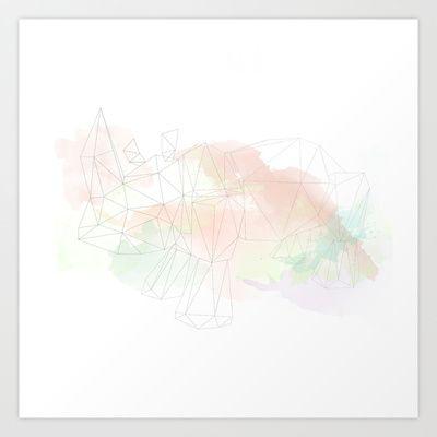Geometric Rhino  Art Print by The Bearded Bird. - $14.00