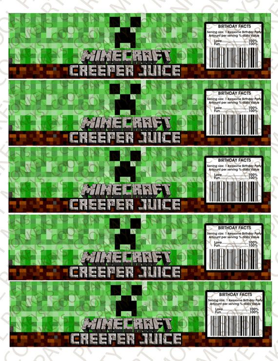 Minecraft Creeper Juice Water Bottle labels by ...