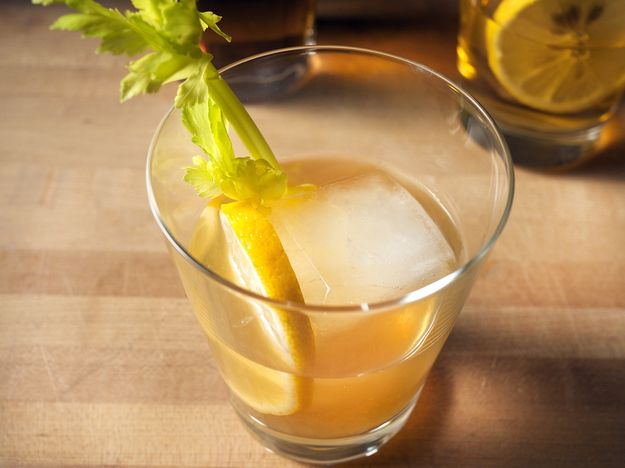 Gunpowder gin punch: Make Oleo-Saccharum by muddling peel from 2 lemons and a lime with 4oz granulated sugar; stand 6-12 hours, strain. Pour 16oz boiling water over 3 gunpowder green teabags; steep 4 mins, strain, cool. Mix 8oz gin (pref Aviation) with 16oz prepared tea (room temp), 8 dashes celery bitters and the oleo-saccharum; stand 1+ hours. Pour over ice in rocks glasses, garnish with lemon wheels and celery stalks. | Elana Lepkowski, serious eats