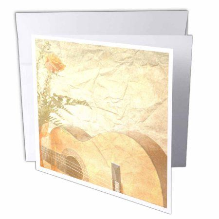 3dRose Vintage Peach Rose and Guitar Music, Greeting Cards, 6 x 6 inches, set of 6