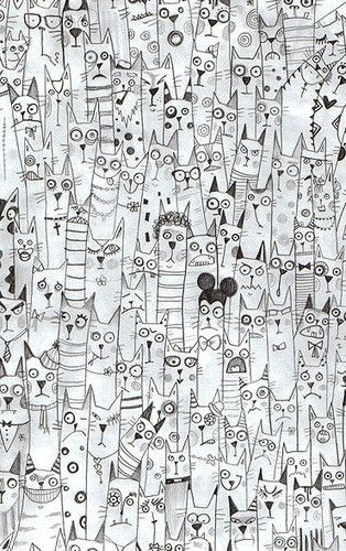 """Original comment: """"cat zentangles, love it! by tisha."""" However, these are not actually Zentangles according to the originators at Zentangle.com. I still like the pic! :-)"""