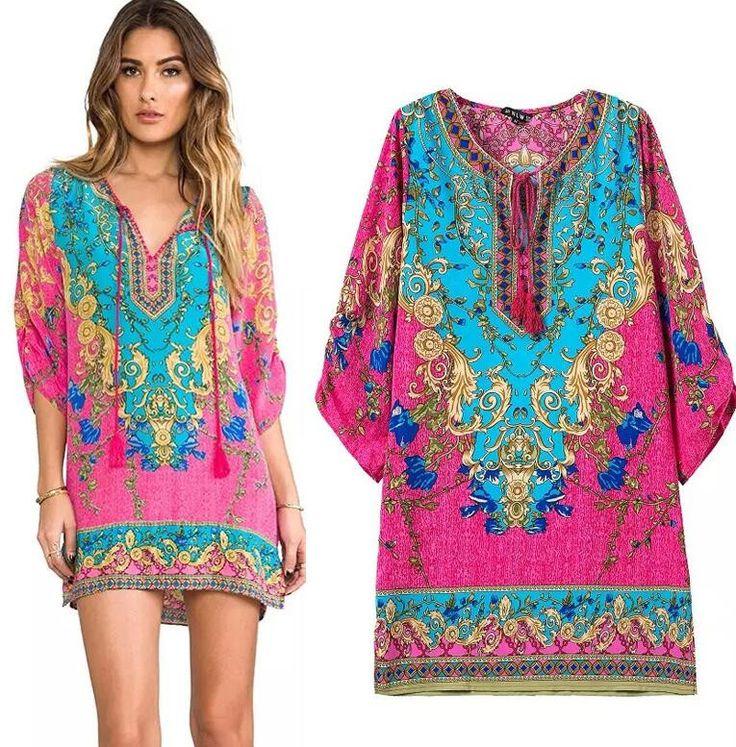 S M L Blue Mexican Dress Embroidery Like Peasant Dress Hippie Boho Dress Ethnic Dress