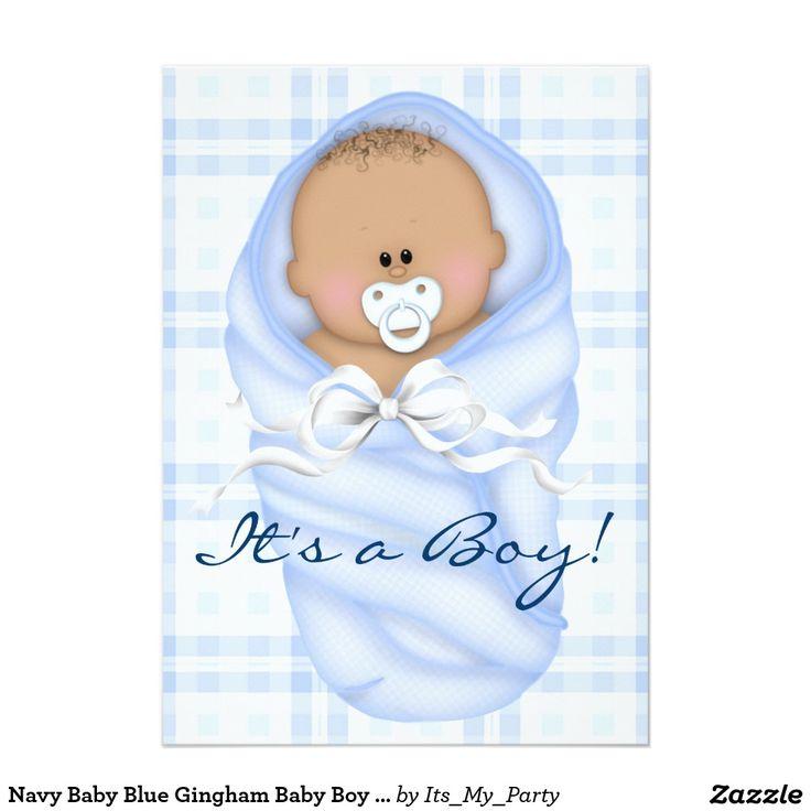 Convites do chá do bebé do guingão dos azuis bebés