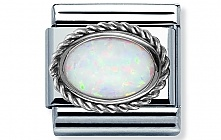 Nomination stainless steel and Sterling Silver setting with an oval White Opal Stone Classic Charm
