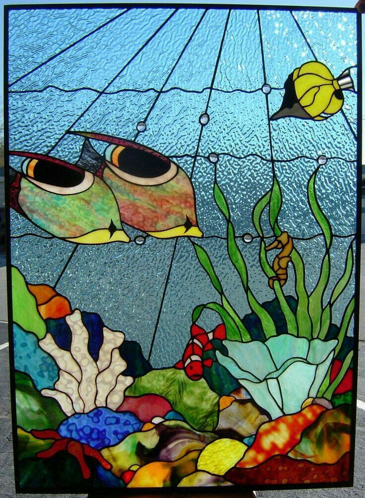 Tropical reef ~ stained glass panel #StainedGlassBeach