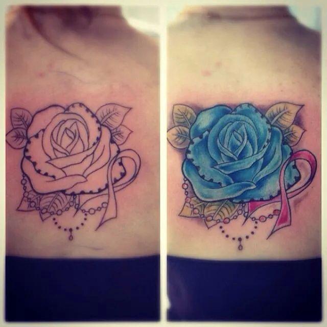 Les 25 meilleures id es de la cat gorie tatouages de ruban - Tatouage rose bleu ...