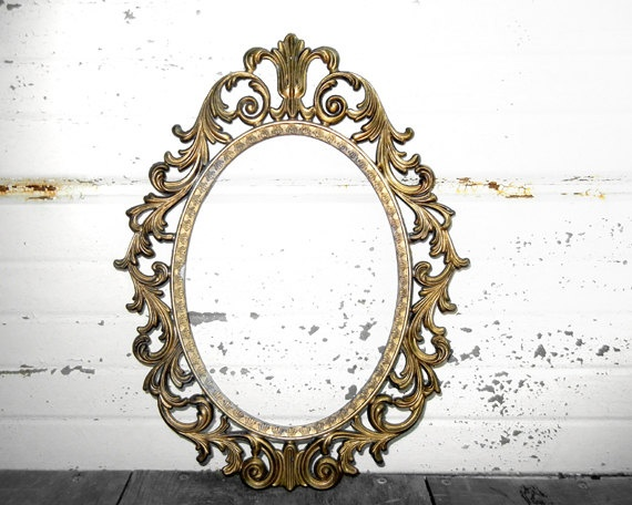 reserved for courtney gold ornate metal oval frame victorian fancy frilly swirly scrolly princess frame gold brass