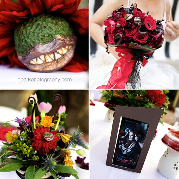 Each Table At Her Wedding Had A Specific Tim Burton Movie As Theme