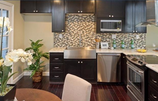 Modern Kitchen 2. Espresso Shaker Cabinets, Stainless Steel