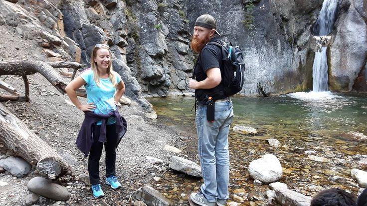 Yeti takes friends to Cat Creek Waterfalls, Longview Alberta Canada.