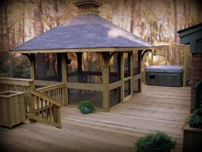 Wood Screnned Pavillion | Wood Deck With Spa And Screened Gazebo   Pool And  Spa Decks