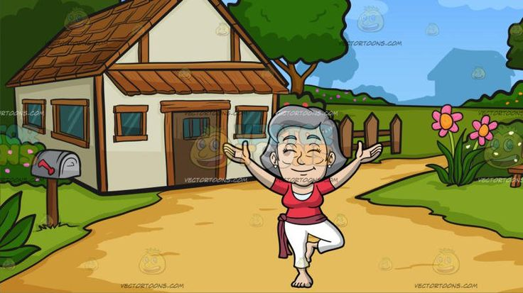 A Mature Woman Doing A Variation Of A Yoga Tree Pose At A Countryside Cottage:  A mature woman with gray hair wearing a red shirt over a white top and leggings a pale red bandana belt around her hips shuts her eyes and smiles in concentration as she brings her palms upward left foot placed on her right inner thigh to do a variation of a tree pose. Set in a countryside cottage with golden brown wooden roofing awning and panels glass windows wooden fence bench mailbox surrounded by green grass…