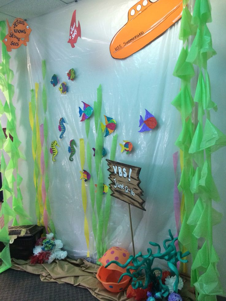 underwater scene on plastic drop cloth