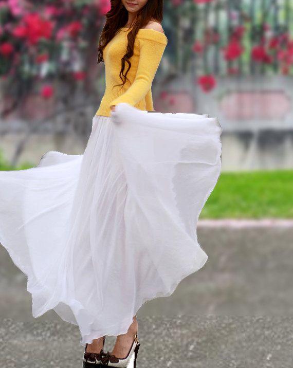 Yellow Top, Gold Shoes, Chiffon Maxi Skirt  |  Inspiration for hijab, hijab style, hijab fashion, hijab outfit