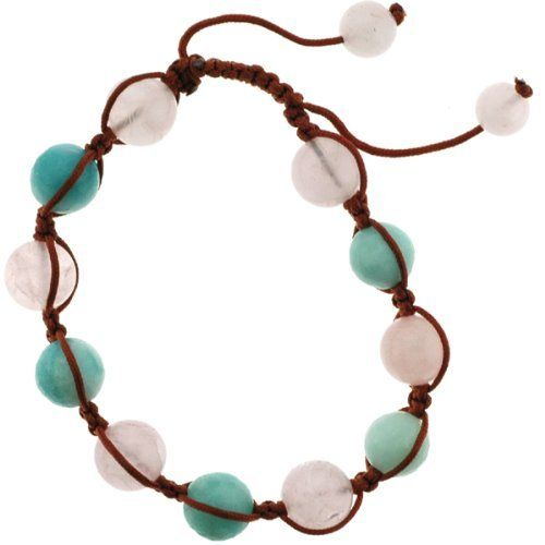 Stone Corded Bracelet - 10mm Rose Quartz and Faceted Blue Amazonite Round Beads with Adjustable 7 Inch Brown Cord Angel Mountain Group-Bracelet. $14.95