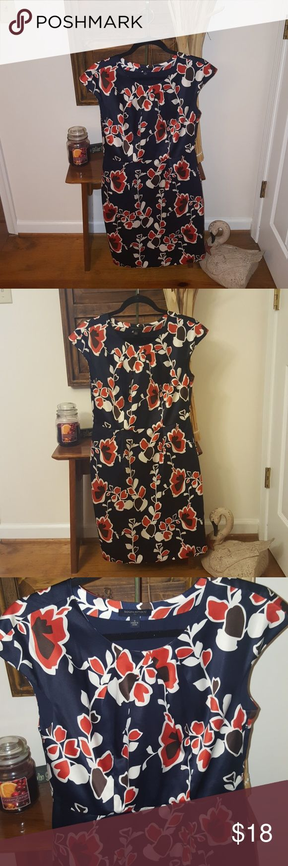 Beautiful dress Navy, Autumn orange, brown, and cream dress. Lovely fall floral design. Excellent condition. Banana Republic Dresses Midi