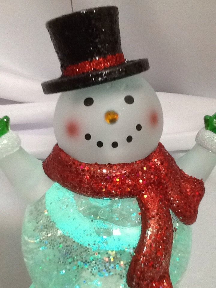 Snowman Snow Globe Frosty Swirling Glitter Color Changing Lighted Snowflake NEW