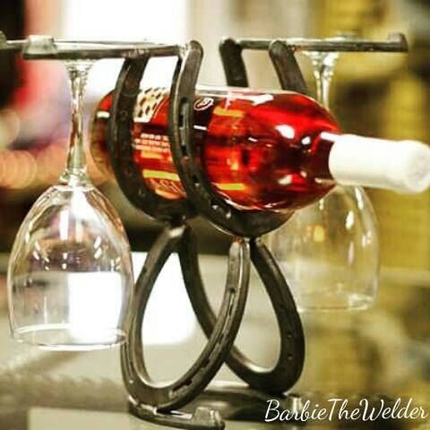 Horseshoe Wine and Glass Rack Country Western Themed Line of Home Decor by BarbieTheWelder Rustic Wine Country Western Welded Art Sculpture