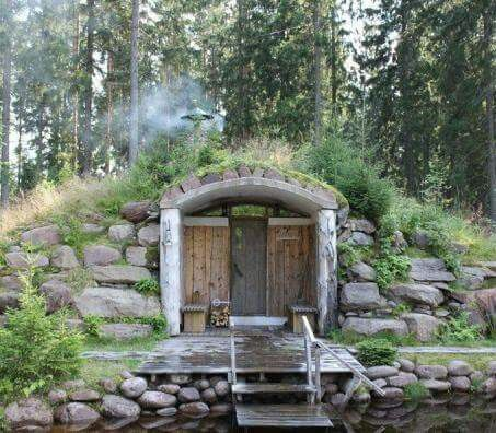 Cool forest sauna by the water, Finland