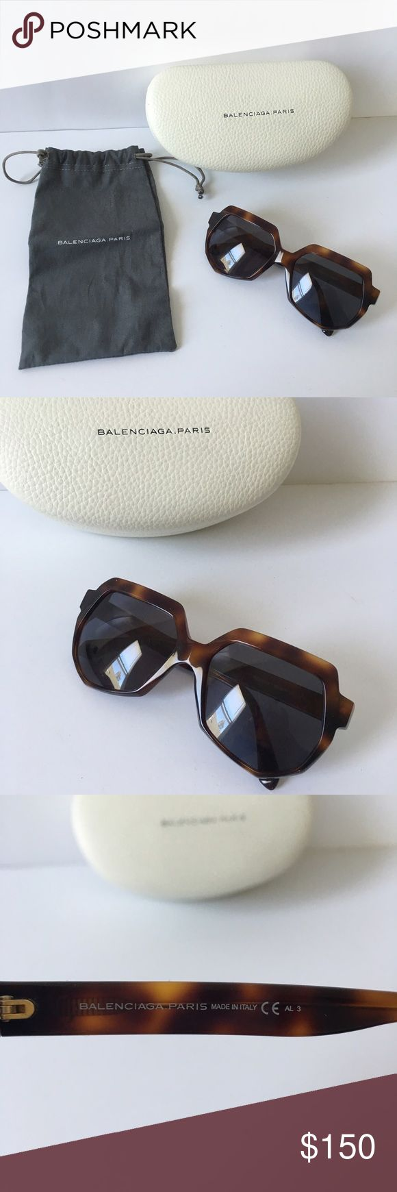 Beautiful Balenciaga sunglasses with case Brand new Balenciaga sunglasses and case. The glasses are perfect condition but there are some minor blemishes on the case.     🚫 no trades  ✅ Offers using offer tool ✅ Balenciaga Accessories Sunglasses