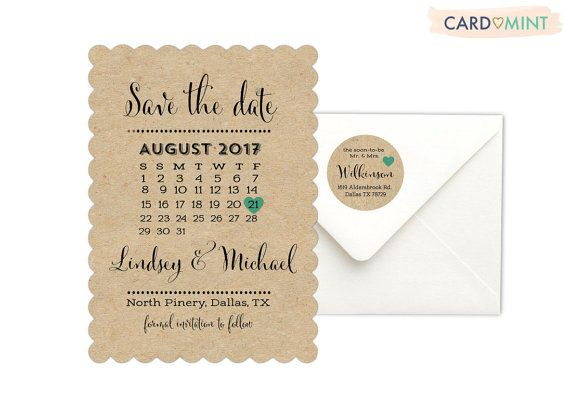 Rustic Kraft Save the Date Cards Unique Black and white Wedding Calendar Wedding Invitations Teal Silver Grey