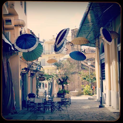 wind-blown umbrellas, kalamata