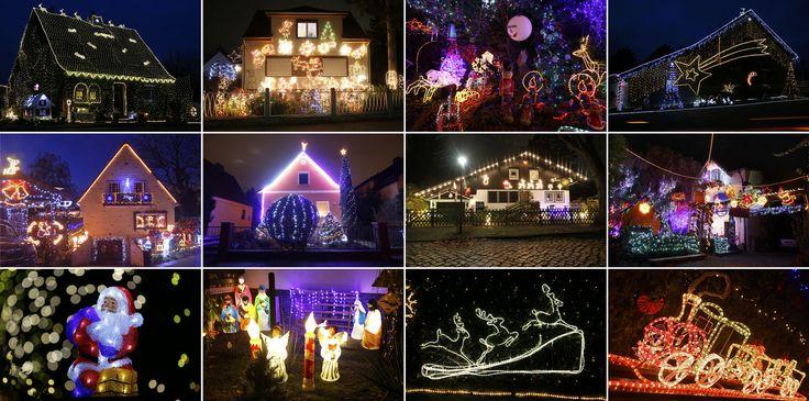 Kombinasi beberapa gambar rumah-rumah warga Jeman yang dihiasi ornamen Natal, di kota-kota Berlin, Hamburg-Heimfeld, Moenchengladbach, Olching dan Stolberg.