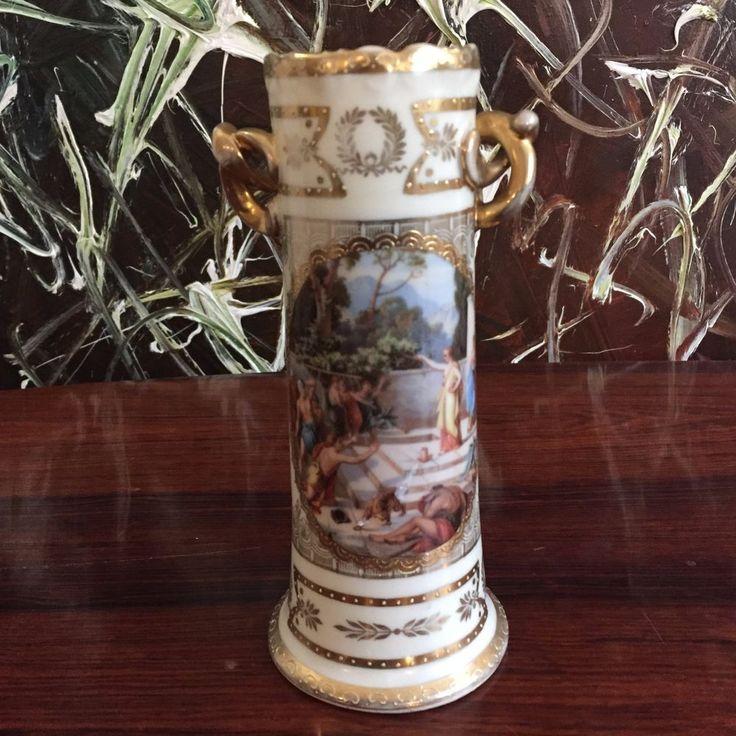 AUGARTEN Wien - edle Jugendstil Vase, Elfenbein mit feine Bemalung