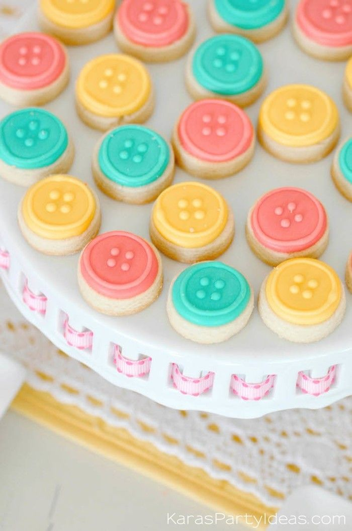 Mini button cookies at a sewing themed birthday party via Kara's Party Ideas | Kara Allen | KarasPartyIdeas.com A lot of cute as a button elements, decor, cupcakes, food, games and more!