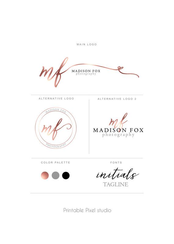 Branding package - Brand identity - Photography Logo - Rose gold Logo - logo package - Photo Watermark - Customizable for any business