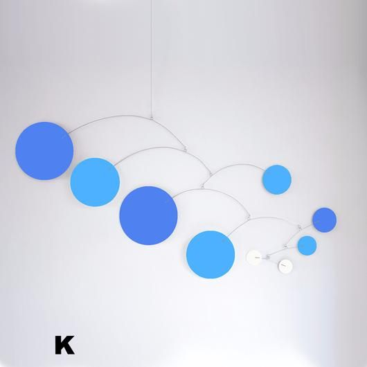 Mod Mobile in Blue, Baby Blue, and white by AtomicMobiles.com #mod #midcentury #modern #homedecor #babymobiles #baby #nurserydecor