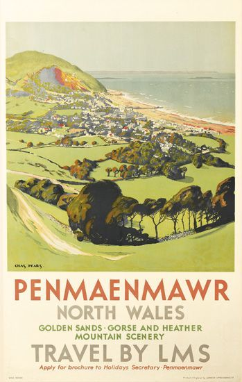 Penmaenmawr, North Wales  Golden sands, gorse, and heather, mountain scenery  Travel by LMS