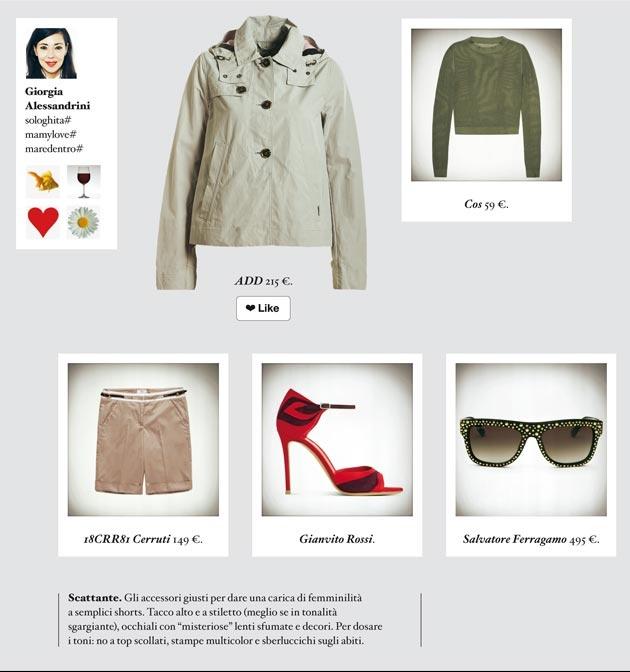"""Due redattrici moda di Io donna interpretano (alla loro maniera) la mini sahariana, must have di primavera. Ed è subito sfida. Una sceglie un look scattante, l'altra sinuoso. Voi quale preferite?  GIORGIA Scattante. Gli accessori giusti per dare una carica di femminilità a semplici shorts. Tacco alto e a stiletto (meglio se in tonalità sgargiante), occhiali con """"misteriose"""" lenti sfumate e decori. Per dosare i toni: no a top scollati, stampe multicolor e sberluccichi sugli abiti."""