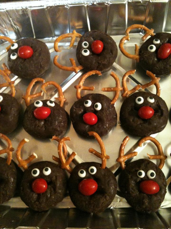 REINDEER - Chocolate covered donut, peanut M&M nose, pretzel antlers and eyes!