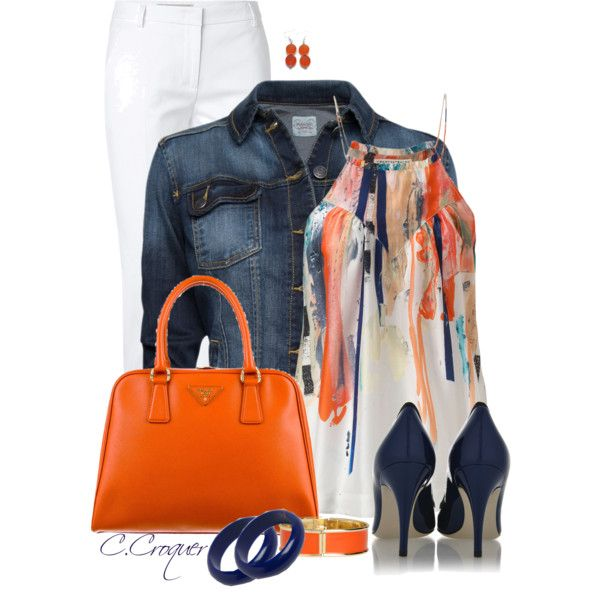 """""""White Pants + Denim Jacket"""" by ccroquer on Polyvore"""
