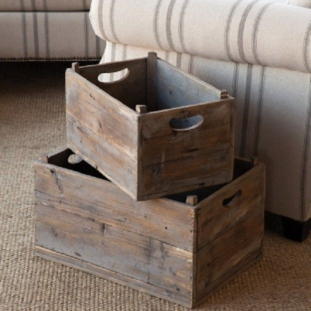 Wooden Produce Crates Set Of 2 Vintage Crates Wooden Bins Wood Crates