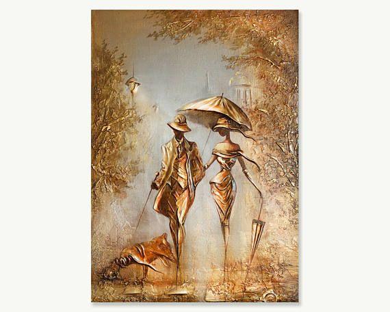 Pintura con textura de lona acrílica de aceite Original, regalo único moderno, empastes oro lienzo, plataforma cuchillo de arte, pintura romántica