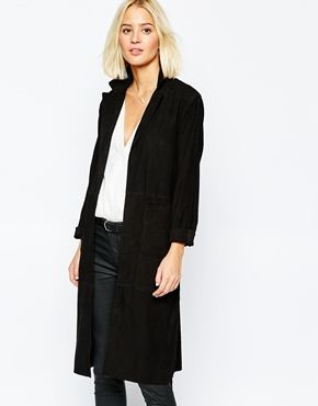 Selected Tenko Long Suede Coat in Black