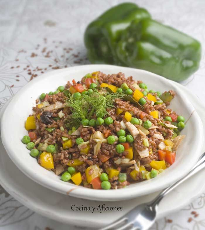 Ensalada de atún y arroz rojo, receta paso a paso | Cocina y Aficiones