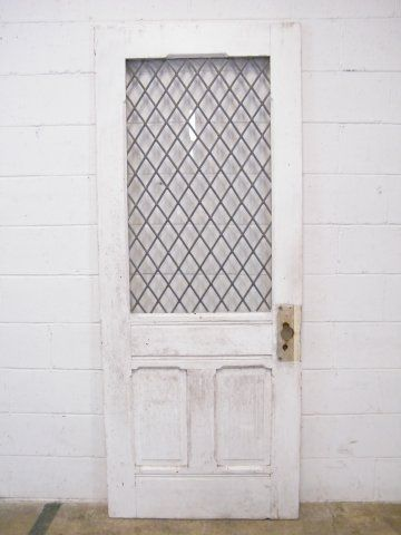 Columbus Architectural Salvage Leaded Glass Entry Door Shutters