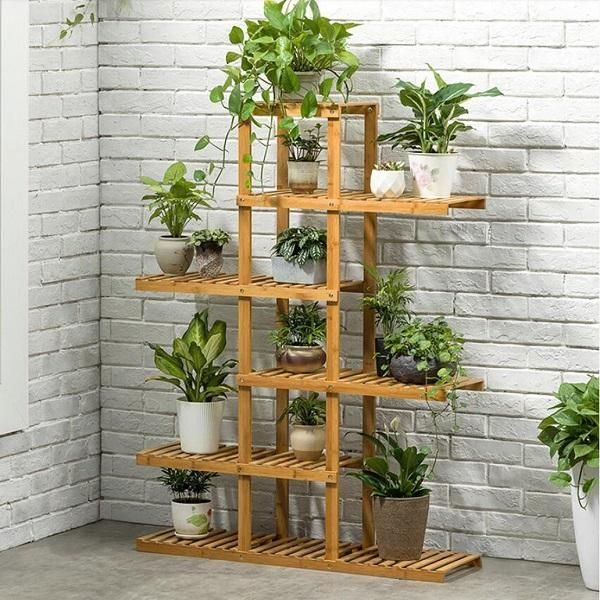 Heavy Duty Flower Planter Solid Multiple Tier Plant Stand Long Bamboo Flower Rack Table Outdoor Shelf For Plants Modern House Plants Decor Outdoor Shelves Plant Decor