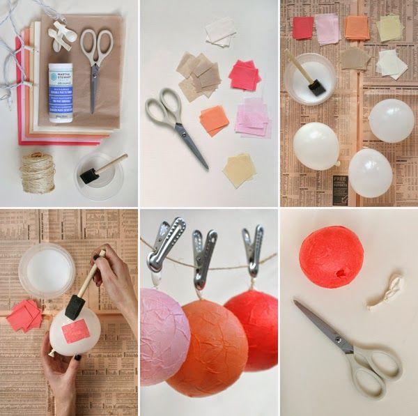 Hazlo tú: gurinalda de bolas de colores de papel maché