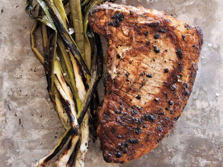 Verjus-Brined Pork Chops with Marinated Leeks