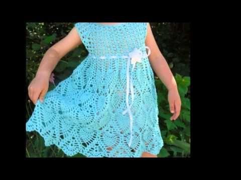 Vestidos tejidos a crochet para niña - YouTube