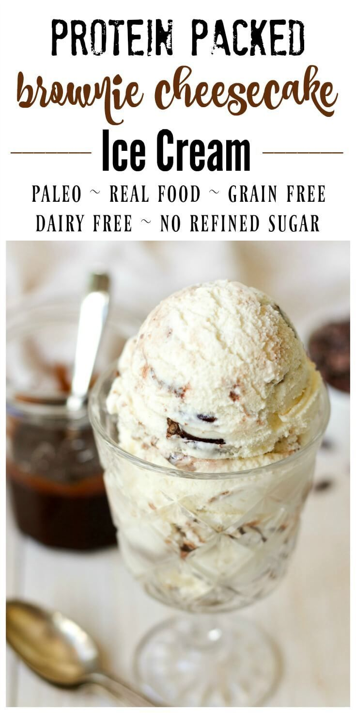 Protein packed, dreamy cheesecake ice cream, brimming with decadent, fudgy, grain free brownies and swirled with homemade chocolate fudge sauce. This Paleo Brownie Cheesecake Ice Cream is practically perfect in every way. | Recipes to Nourish
