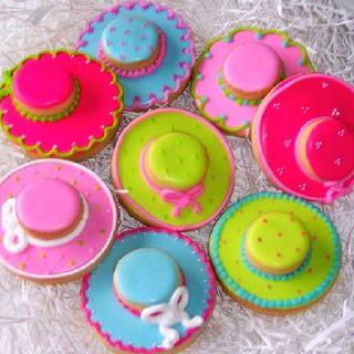 Colorful Decorated Tea Party or Derby Hat Cookies via #TheCookieCutterCompany