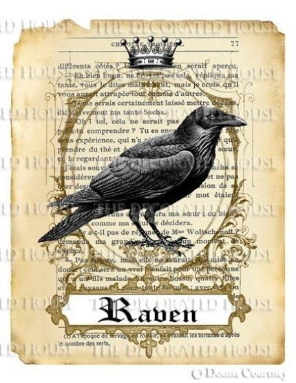 DIGITAL HALLOWEEN RAVEN PRINT DOWNLOAD. KING POE. VINTAGE STYLE ART. ANTIQUE…