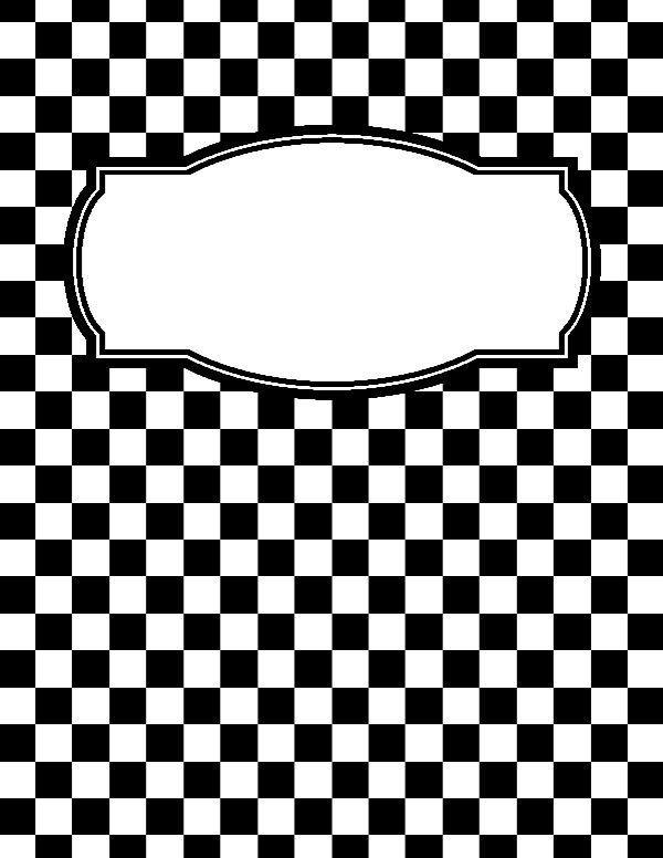 Free printable black and white checkered binder cover template. Download the cover in JPG or PDF format at http://bindercovers.net/download/black-and-white-checkered-binder-cover/