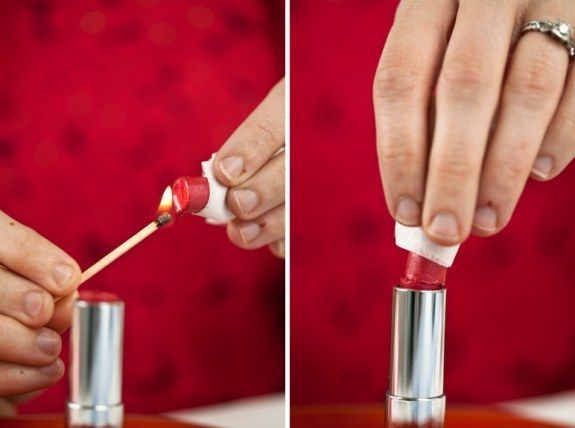 Fix broken or smashed lipstick by heating it quickly with a match or hairdryer. | 42 Money-Saving Tips Every Makeup Addict Needs To Know