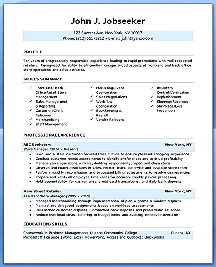 Back office resume format